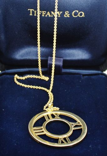 Tiffany & Co. Atlas Collection large Roman numeral necklace 18k gold