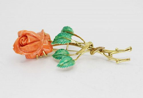 Retro carved coral rose brooch pin in 18k gold