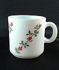 Milk glass Red Roses Mug