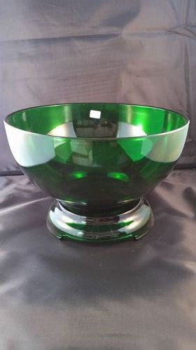 Fire King forest green punch bowl and base