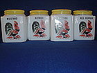 Tipp City Rooster Spice Shakers with Yellow Tops