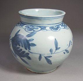 A Fine Blue and White Porcelain Globular Jar