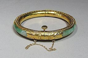 Very Rare  24K Gold Mounted Jadeite Bangle Bracelet