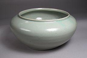 Very Fine Sea Green Glazed Celadon Large Bowl-12th C.