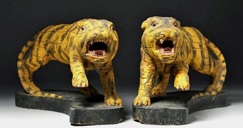A Pair of Very Rare/Fine Polychrome Enameled Wood Carved Tigers