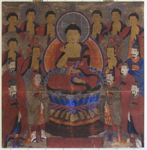 Fine/Rare/Large Buddhist Painting (Ksitigarbha Bodhisattva)- 19th C.