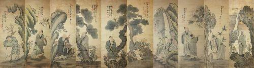 A Rare/Fine 10 Panel Landscape Paintings/��(� �) , �기�( 尹기永)