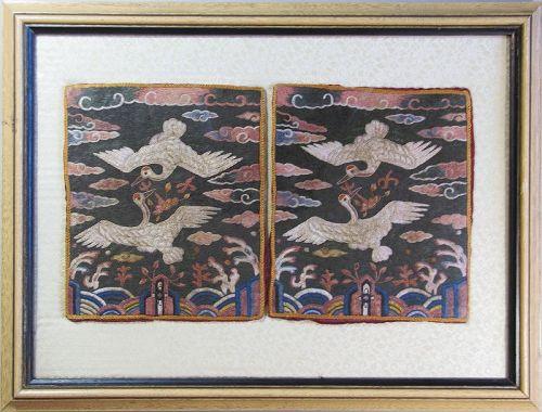 A Pair of Two Fine Korean Crane Civilian Official Badges (�배)-19th C