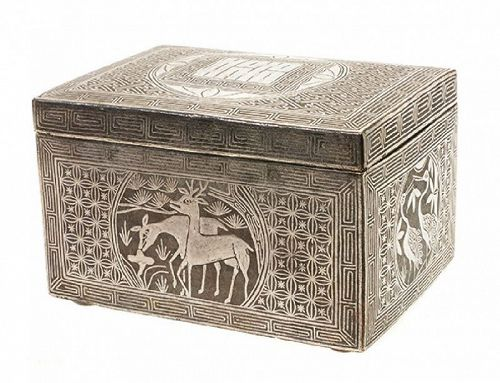 Very Fine Silver Inlaid Rectangular Iron Box with Cover-19th C