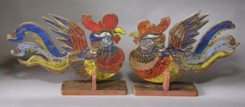 A Pair of Fine/Rare Korean Mineral Pigments Painted Roosters-19th C