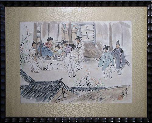 Unbo Kim Ki-Chang - ��-��� (1931-2001)-Korean Genre Painting