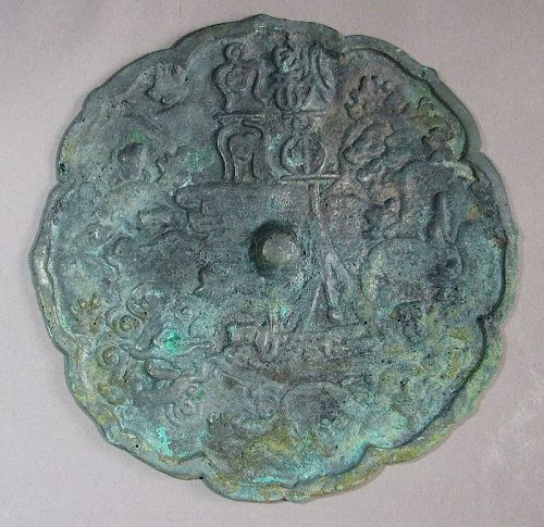 A Fine Koryo Bronze Mirror /Natural Green Patina-11th �14th C
