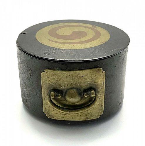 Very Rare/Fine Korean Copper/Brass Inlaid Circular Iron Box-18/19th C.