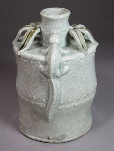 An Extre./Rare/Fine White Glazed Bamboo Formed Bottle with Lizards