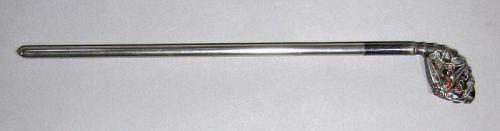 A Rare Silver Bar Hairpin/Enameled Bamboo,Bird,plum -19th C.
