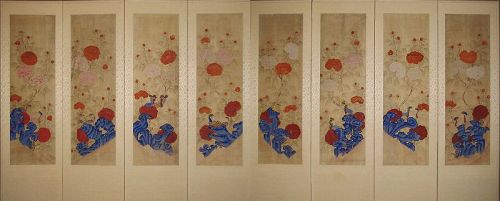 Very Fine 8 Panel Peony Screen (모��) with Rocks and Birds -19th C