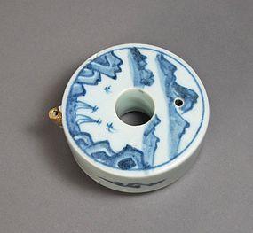A Very Fine/ Rare Circular Blue and White Water Dropper