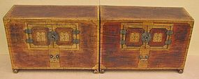 A Very Fine/Rare Pair of Papered Wood Chests