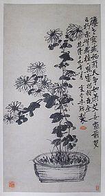 Fine Chrysanthemum Scroll Painting by Li Shan