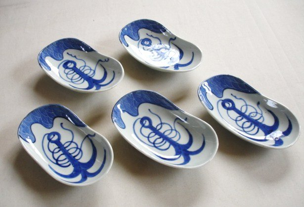 Japanese Antique Ceramic Oval Plates With Anchor