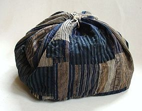 Japanese Vintage Textile Rice Bag Many Stripes