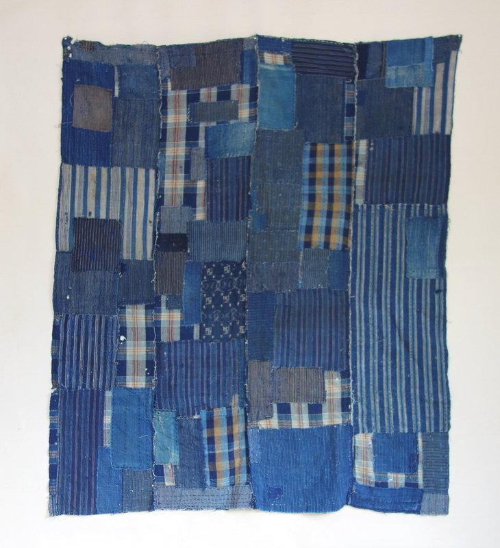 Japanese Vintage Textile Boro Futonji with Indigo Many Patches