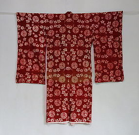Japanese Antique Textile Cotton Beni-itajime Girl's Juban
