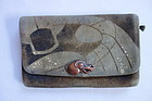 Japanese Antique Folk Craft Purse Made of Deer Skin with Clasp
