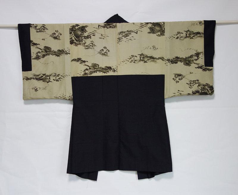 Japanese Vintage Textile Man's Pongee Silk Haori