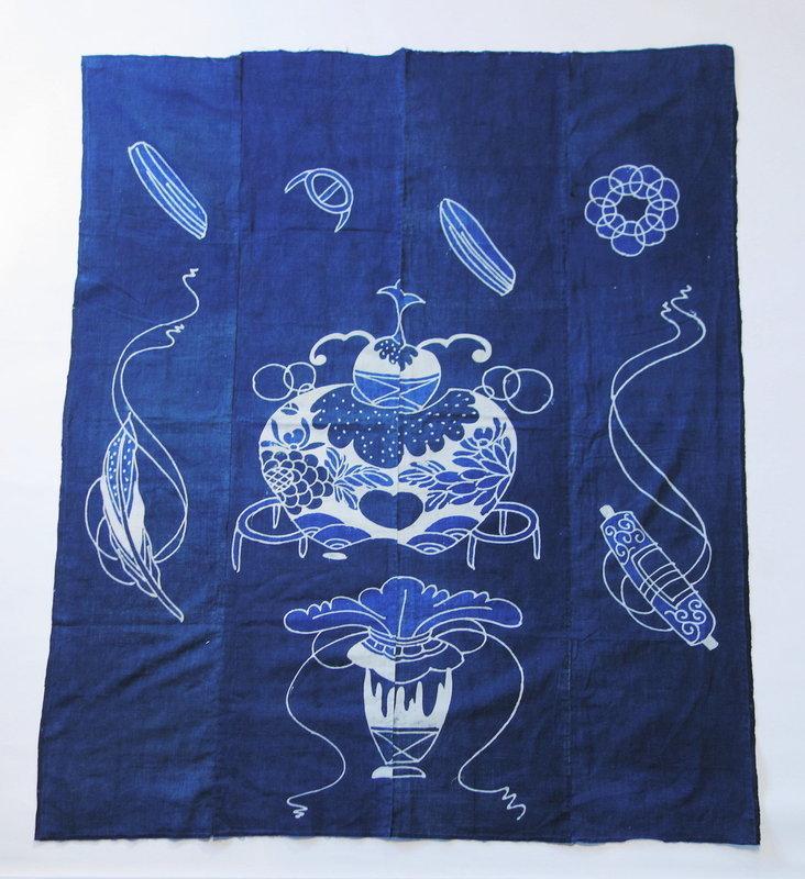 Japanese Antique Textile Cotton Futonji with Tea Utensil Motif