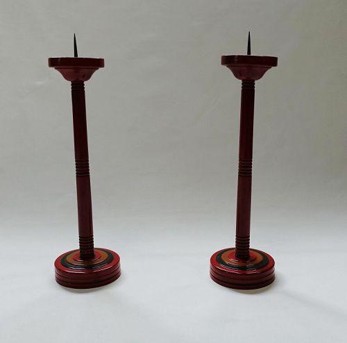 Japanese Vintage Wood Folk Craft Urushi Lacquer Candle Stand