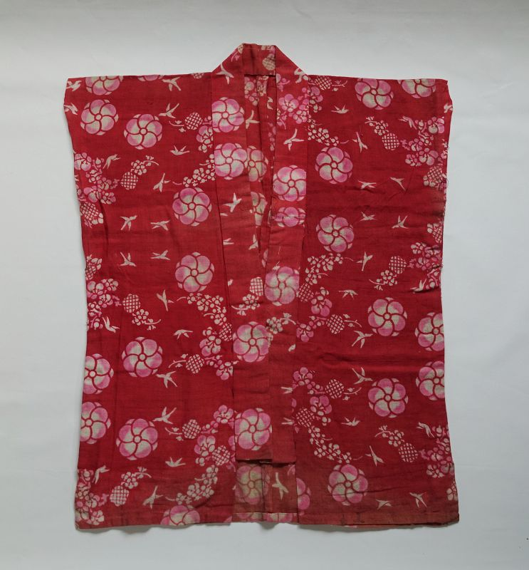 Japanese Antique Textile Cotton Benibana-zome Han-juban