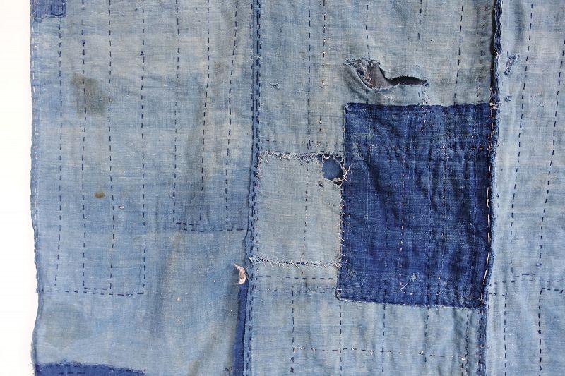 Japanese Antique Textile Boro Futonji Indigo Fragmentts