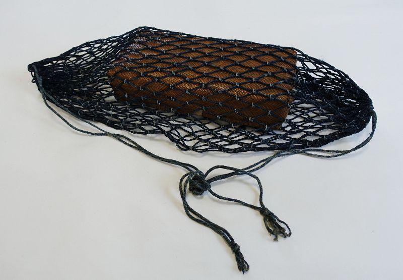 Japanese Antique MingeiAsa Indigo Bag and Willow Basket