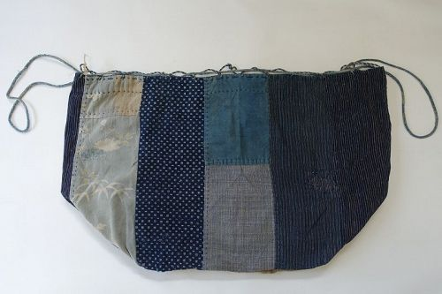 Japanese Antique Textile Large Size Komebukuro Rice Bag