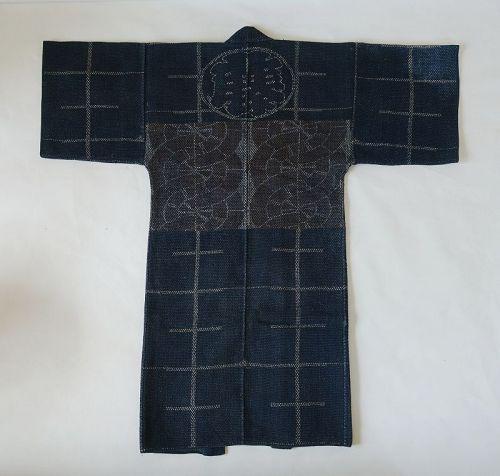 Japanese Antique Textile Sashiko Kaji-banten Fireman's Coat