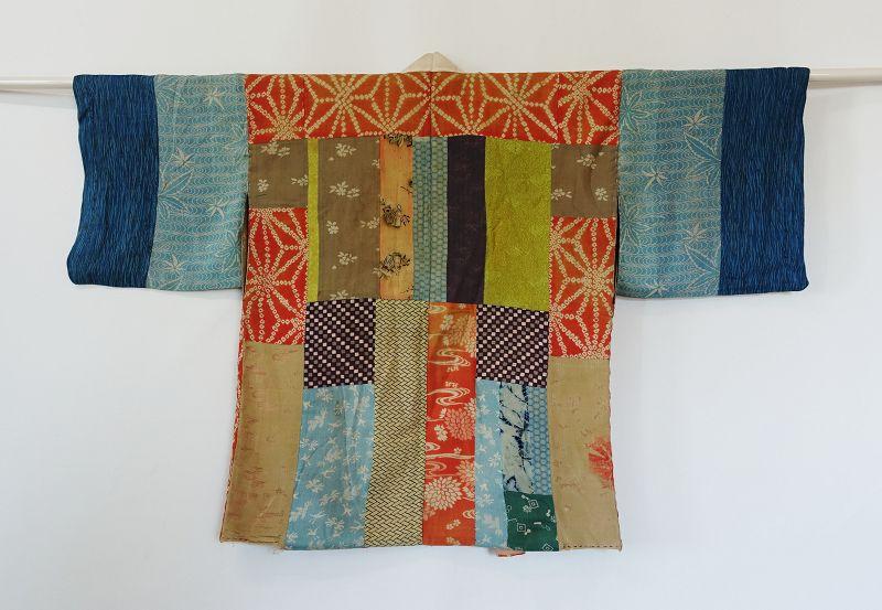 Japanese Antique Textile Patched Silk Han-Juban Under Kimono