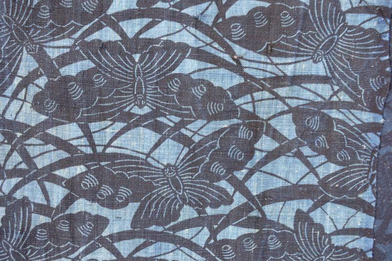 Japanese Antique Textile Cotton Katazome Futonji with Butterfly