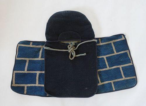 Japanese Antique Textile Sashiko Kaji-zukin Fireman's Hood