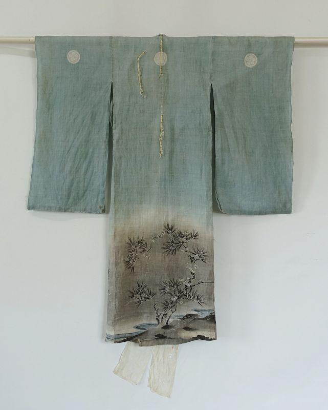 Japanese Antique Textile Asa Baby's Ceremonial Kimono with Charm