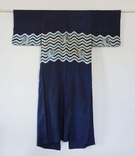 Japanese Antique Textile Silk Katsugi Head Veil of Noble Woman