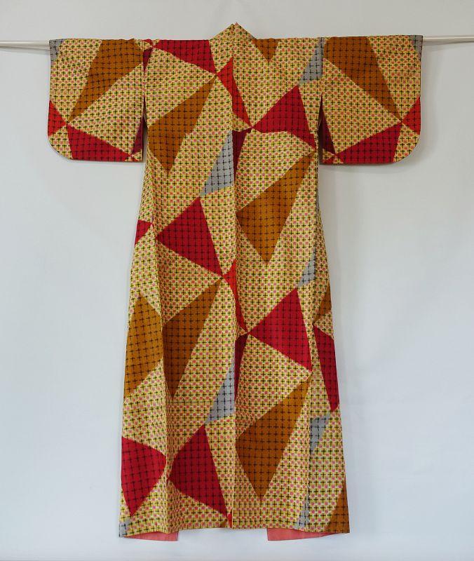 Japanese Vintage Textile Meisen Kimono Colorful Geometric Pattern