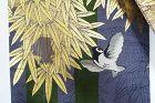 Japanese Vintage Textile Silk Maru-obi Sparrow and Bamboo Motif