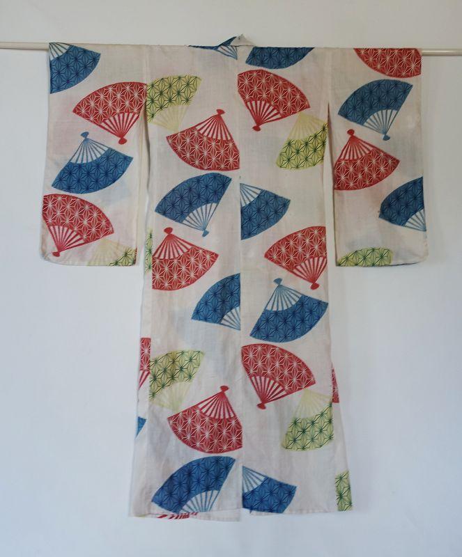 Japanese Vintage Textile Asa Katazome Unlined Kimono