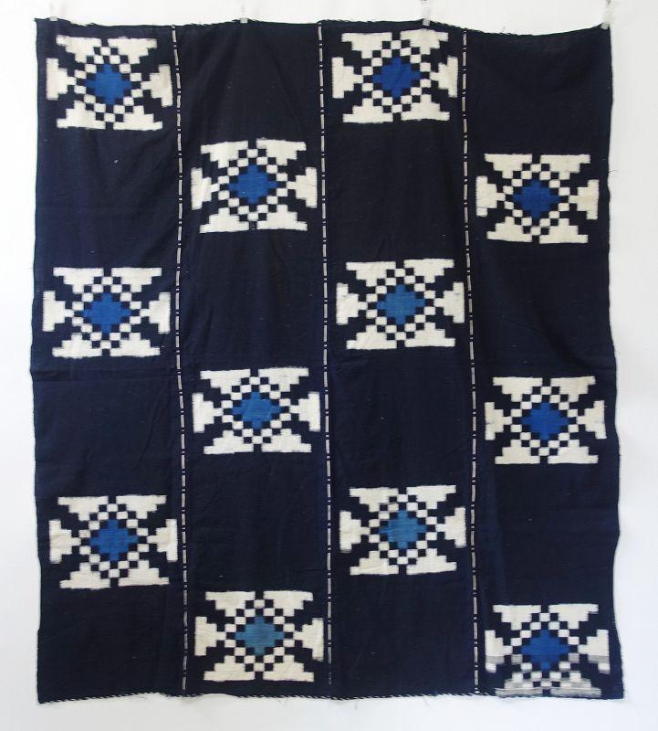 Japanese Antique Textile Cotton Kurume Kasuri Futonji with Asagi