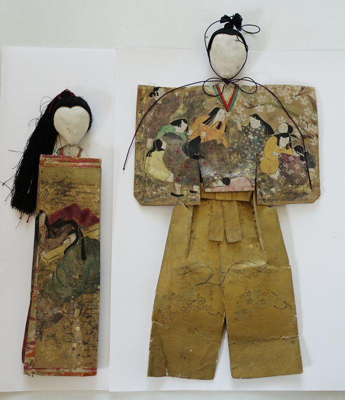 Japanese Antique Paper Hina Dolls Early Edo