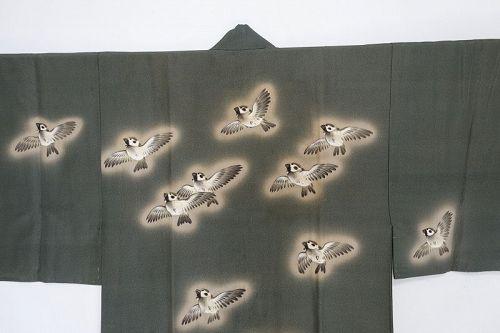Japanese Vintage Textile Silk Man's Juban with Sparrow Motif