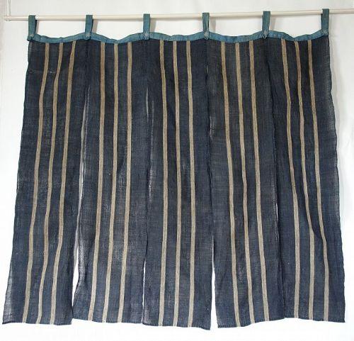 Japanese Antique Textile Asa Hemp Noren with Stripes