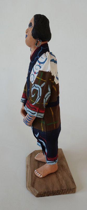 Japanese Folk Craft Ainu Doll Made of Clay, Cloth and Wood