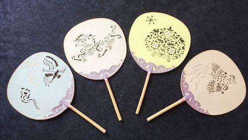 Japanese Vintage Paper Craft Nara Uchiwa with Traditional Motif